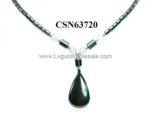 Hematite Stone Beads Drop Charm Choker Collar Pendant Necklace