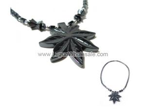 Synthetic Stone Hematite Leaf Charm Choker Collar Pendant Necklace