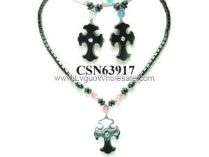 Colored Opal Stone Hematite Cross Pendant Charm Choker Collar Necklace