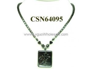 "Hematite Chinese characters ""Love"" Pendant Beads Stone Chain Choker Fashion Women Necklace"