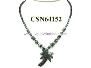 Hematite Coconut tree Pendant Beads Stone Chain Choker Fashion Women Necklace