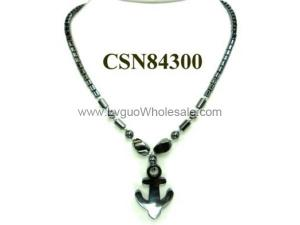 Hematite Anchor Pendant Beads Stone Chain Choker Fashion Women Necklace