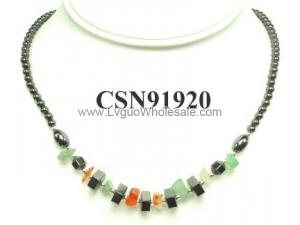 Semi precious Chip Beads Hematite Chip Beads Stone Chain Choker Fashion Women Necklace