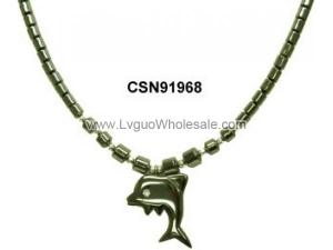 Hematite Dolphin Pendant Beads Stone Chain Choker Fashion Women Necklace