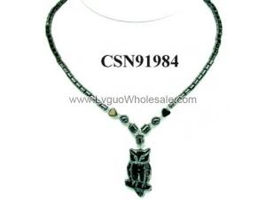 Hematite Owl Pendant Beads Stone Chain Choker Fashion Women Necklace