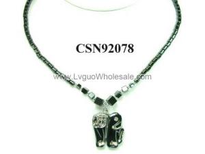 Hematite Elephant Pendant Beads Stone Chain Choker Fashion Women Necklace