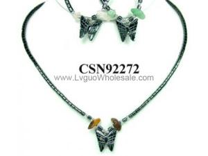 Hematite Butterfly Pendant Beads Stone Chain Choker Fashion Women Necklace