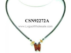 Semi precious Stone Butterfly Pendant Hematite Beads Stone Chain Choker Fashion Women Necklace