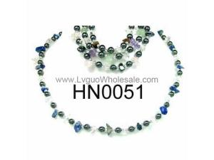 Assorted Colored Semi precious Stone Beads Hematite Beads Stone Chain Choker Fashion Women Necklace