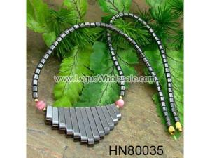 Assorted Colored Opal Beads Hematite Teeths Pendant Beads Stone Chain Choker Fashion Women Necklace
