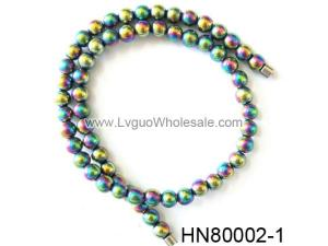 Rainbow Color Round Hematite Beads Stone Chain Choker Fashion Women Necklace