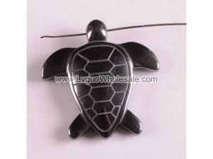 Hematite Sea Turtle 43mm Pendant