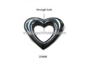 Hematite Hollow Heart 25mm Pendant,Top Drilled