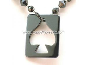 Hematite Hollow Spade Hang Tag 32x42mm Pendant