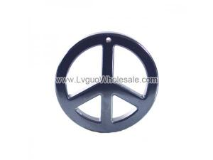 Hematite Peace Sign 36mm Pendant