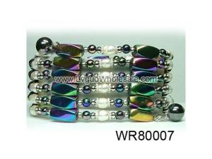 36inch Rainbow Magnetic Wrap Pearl Beads Bracelet Necklace All in One Set