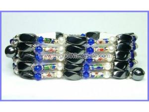 36inch Blue Cloisoone,Pearl,Magnetic Wrap Bracelet Necklace All in One Set