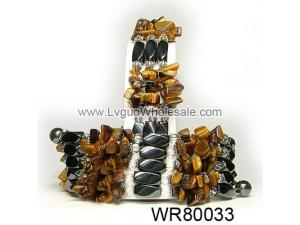 36inch Tiger Eye Chip Stone Magnetic Wrap Bracelet Necklace All in One Set