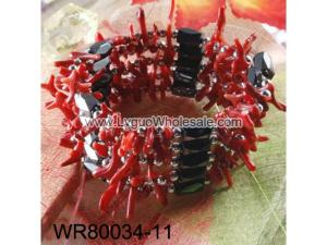 36inch Red Coral Magnetic Wrap Bracelet Necklace All in One Set
