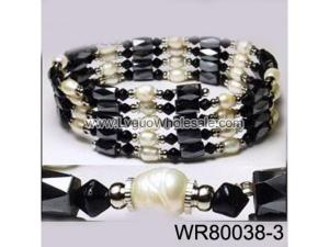 36inch Black Glass, Freshwater Pearl Magnetic Wrap Bracelet Necklace All in One Set