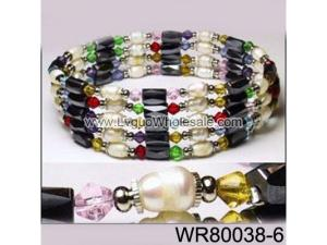 36inch Rainbow Glass, Freshwater Pearl Magnetic Wrap Bracelet Necklace All in One Set