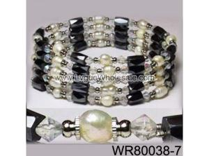 36inch Clear Crystal Glass, Freshwater Pearl Magnetic Wrap Bracelet Necklace All in One Set