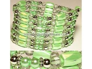 36inch Green Plastic ,Glass,Magnetic Wrap Bracelet Necklace All in One Set