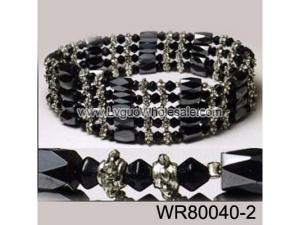 36inch Black Glass ,Alloy,Magnetic Wrap Bracelet Necklace All in One Set