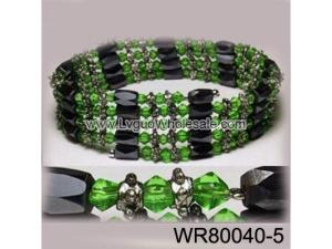 36inch Green Glass ,Alloy,Magnetic Wrap Bracelet Necklace All in One Set