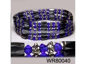 36inch Blue Glass ,Alloy,Magnetic Wrap Bracelet Necklace All in One Set