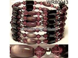 36inch Coffee Cat's Eye Opal, Glass, Magnetic Wrap Bracelet Necklace All in One Set