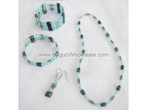 Blue Cloisonne Beads Magnetic Wrap Bracelet Necklace All in One Set Jewelry Set
