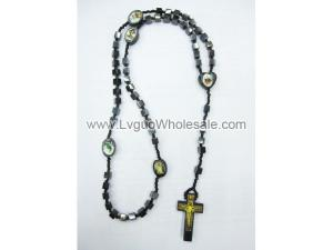 Cube Shape Hematite Beads Rosary with Wooden Crucifix 24inch