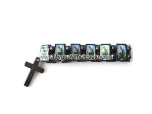 Magnetic Hematite Religious Sealed Icon Bracelet with Cross 7.8inch