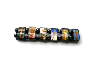 Magnetic Hematite Religious Sealed Icon Bracelet 7.8inch
