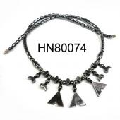New Style Letter V Black Stone Hematite Necklace Jewelry