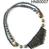 Hematite (Magnetic) Gemstone Beads Necklace with 13 bars  18inch