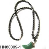 Hematite Beads and Semi precious Stone Horn Pendant Necklace
