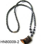 Hematite Beads and Tiger Eye Stone Horn Pendant Necklace