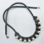 Stunning Vintage Pearl Beads Dagle Hematite Beads Necklace