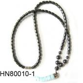 Blue Lampwork Glass Beads Pendant Horn Shape with Hematite Beads Strands Necklace