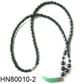 Green Aventurine Beads Pendant Horn Shape with Hematite Beads Strands Necklace