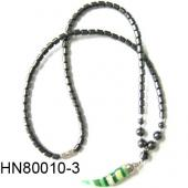 Lampwork Glass Beads Pendant Horn Shape with Hematite Beads Strands Necklace