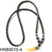 Yellow Agate Beads Pendant Horn Shape with Hematite Beads Strands Necklace