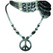Assorted Colored Opal Peace Sign Pendant Hematite Stone Beads Strands Necklace