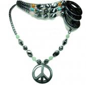 Assorted Colored Gemstone Peace Sign Pendant Hematite Stone Beads Strands Necklace