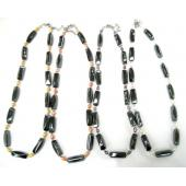 Assorted Colored Pearl Beads Hematite Stone Strands Necklace