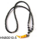 Yellow Lampwork Glass Beads Pendant Horn Shape with Hematite Beads Strands Necklace