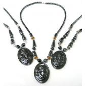 Wholesale Assorted Color Religious Carved Shaped Hematite Pendant and Necklace