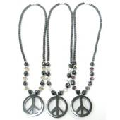 Assorted Color Glass Crystal Hematite Peace Sign Pendant Necklace